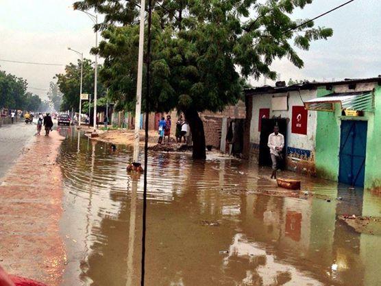 L'inondation de quartier au centre de N'Djamena. Crédit: Tchadinfo-2013