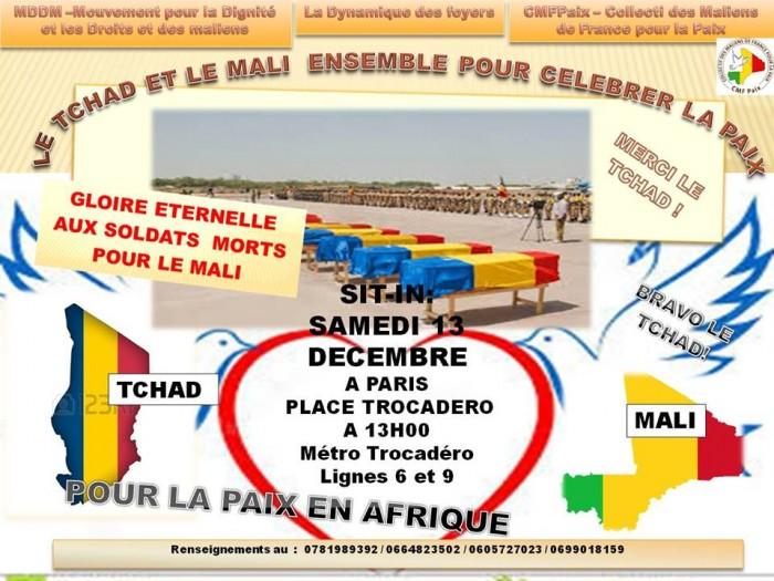 Le tract émit par l'ambassade du Tchad en France